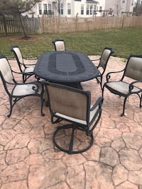 Black metal framed glass top patio table set Fairfax, 22033