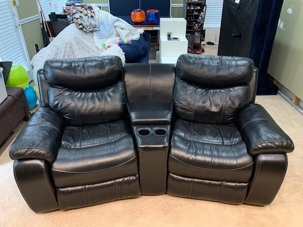Black leather automatic recliners