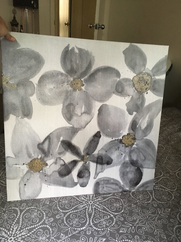 Canvas watercolor flowers print