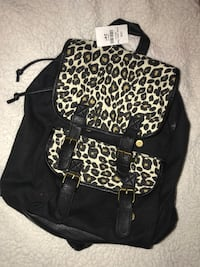 black and brown leopard-print backpack