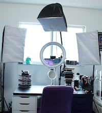 "13"" Fluorescent Diva Ring Light + 3-Point Continuous Softbox Lighting Kit Toronto"