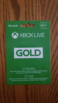 Xbox 12month gold card Chatham-Kent, N7M 3X9