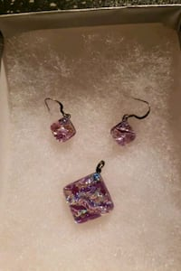 Purple Earrings and Pendant