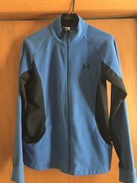 Blue and gray under armour zip-up jacket