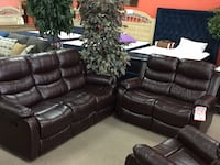 Brown leather recliner sofa and loveseat.  Alexandria, 22309