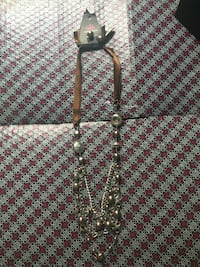 brown strap and silver link chain necklace Falls Church, 22043