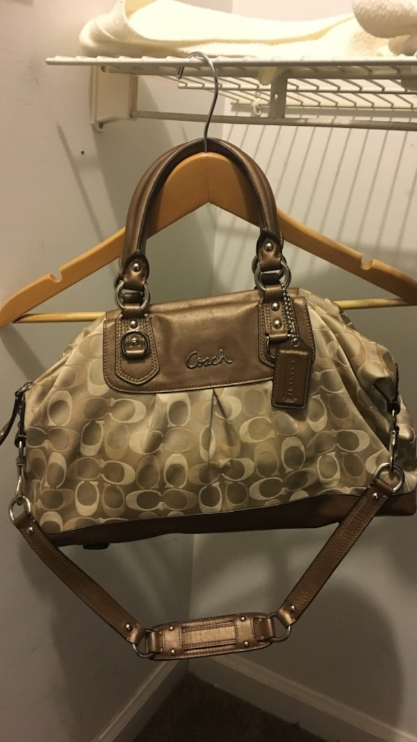 Used Authentic Coach gold metallic silver 2-way handbag for sale in ... bd96a96f5b