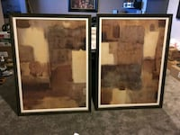 two brown and beige abstract paintings with black