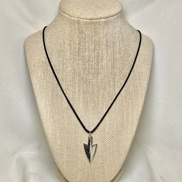 Genuine Hand Cast Sterling Silver Arrowhead Pendant 1