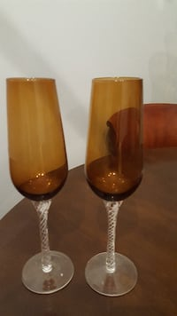 Beautiful detailed Amber Wine glasses Whitby