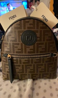 Fendi mini leather logo back pack