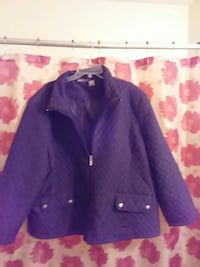 purple button-up jacket