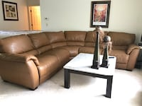 Natuzzi Leather Sectional (Camel Colored)—Excellent condition  Longwood, 32750