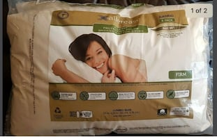 Allerease Pillow 100% Organic Cotton Cover Jumbo 2 Pack.