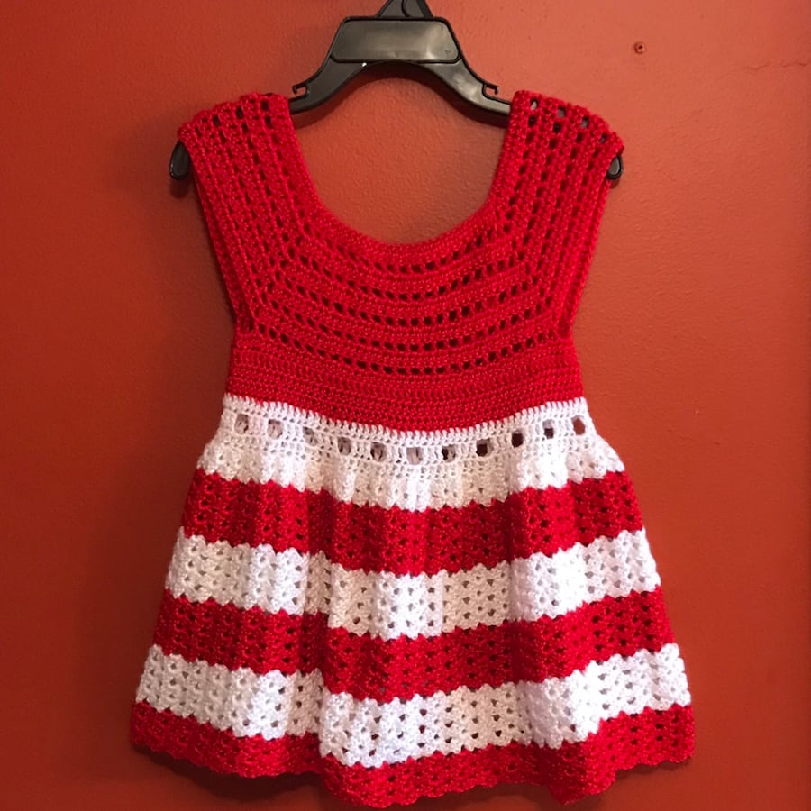 Red and white crochet toddler dress