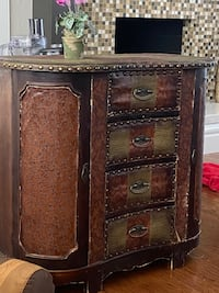 Wood and leather table/chest