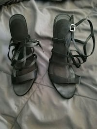 pair of gray leather strappy sandals Monroe, 48161