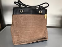 brown and black leather tote bag 809 mi