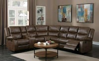 Theo Brown Leather Gel Reclining Sectional | 1016 Houston, 77036