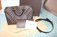 Auth Louis Vuitton Speedy Bandouliere 35 in Damier Ebene