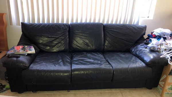 Black leather couch, good condition
