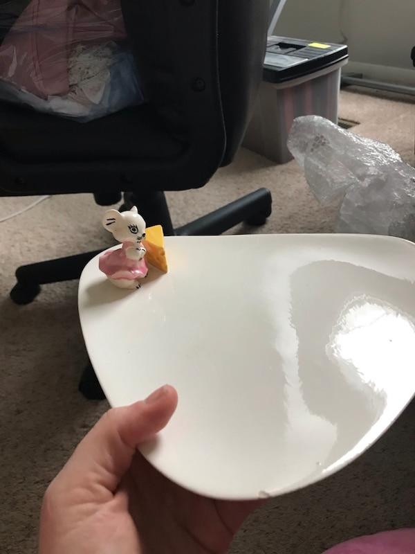 Adorable Vintage Cheese Plate With Mouse and Slice of Cheese