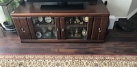 Solid Brown wood glass display cabinet Mississauga, L4Z