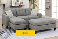 Gray fabric sectional sofa with ottoman El Paso, 79936