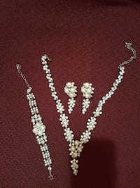White and silver-colored beaded necklace, bracelet, earring and ring Toronto, M3J 2V1
