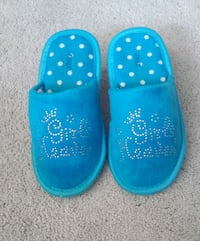 pair of girl's blue slippers
