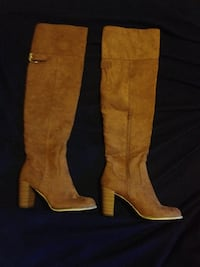Thigh High Suede Tan Boots Women Size 10 3339 mi