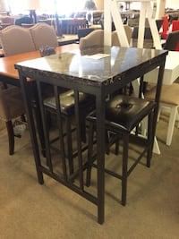 Small Faux Marble Top Dining Table W/ 2 Stools  Phoenix, 85018