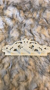 Carved white wooden floral wall hook West Homestead, 15120