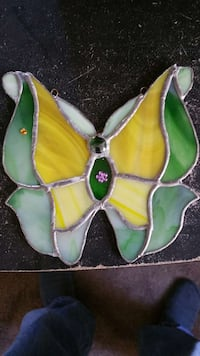 Yellow and green butterfly glass ornament