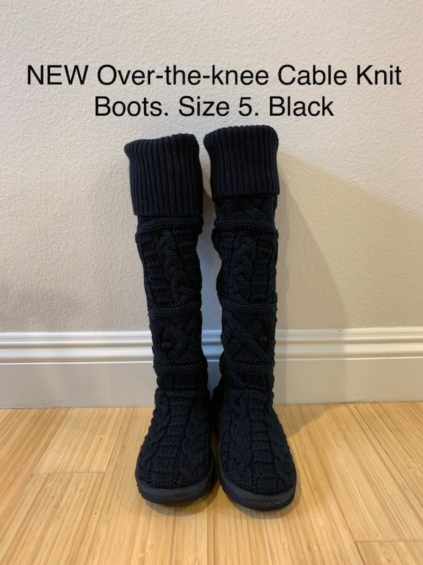 3c24a55a8ef NEW Over-the-knee Cable Knit UGG Boots. Size 5. Black