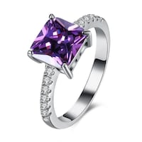 New Purple Square CZ Prong Setting Lovely Ring Size 10 Calgary