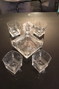 Mikasa Maria decanter with 4 rock glasses -like new