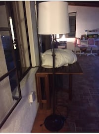 brown wooden base white lampshade floor lamp Miami, 33143