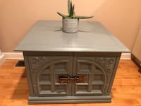 gray wooden 2-door cabinet/ end table