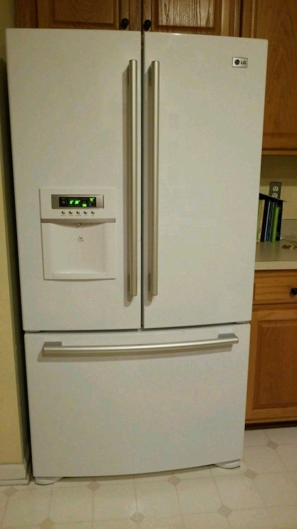 Used White French Door Refrigerator With Dispenser For