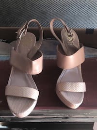 Pair of pink leather open-toe sandals