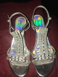 Pair of gray open-toe ankle strap heels Hedgesville, 25427