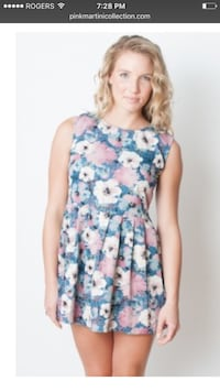 women's blue white and pink floral mini dress screenshot Vancouver, V6E