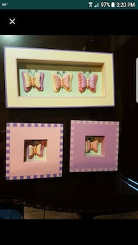 three butterfly framed decors