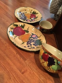 three white-and-red floral ceramic bowls North Augusta, 29860