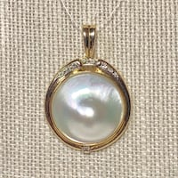 14k Gold Blister Pearl Diamond Pendant Ashburn, 20147