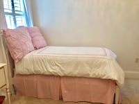 Pottery Barn Twin Bed with mattress and bed linens