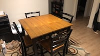 Rectangular brown wooden table with four chairs dining set Charlotte, 28209