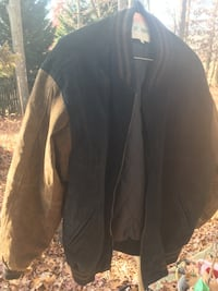 Very nice, thick brown and black suede jacket. Men's size med.