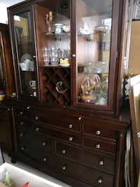 brown wooden china cabinet with glass display cabinet Thorold, L0S 1A0